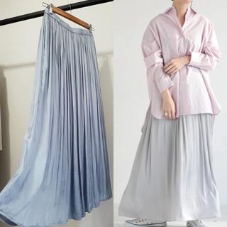 TOMORROWLAND - 1.5万!新色上質サテンギャザープリーツスカート サックスブルー