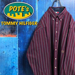 TOMMY HILFIGER - 【トミーヒルフィガー】オールド刺繍ロゴビッグクラシックストライプシャツ 90s