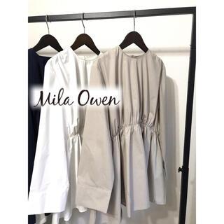 Mila Owen - ミラオーウェンバックボタンチュニックシャツブラウスべージュ