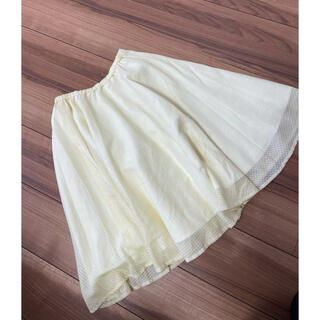 グラスライン(Glass Line)のグラスライン  レモンイエローチェック柄 フレアスカート (ひざ丈スカート)