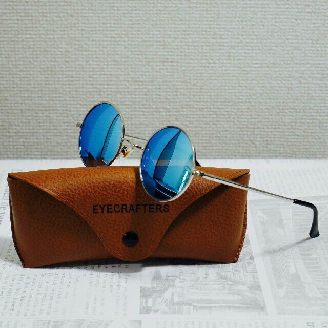 映画LEON ジャンレノ 丸メガネ サングラス レイバンタイプ レオン 青 レディースのファッション小物(サングラス/メガネ)の商品写真