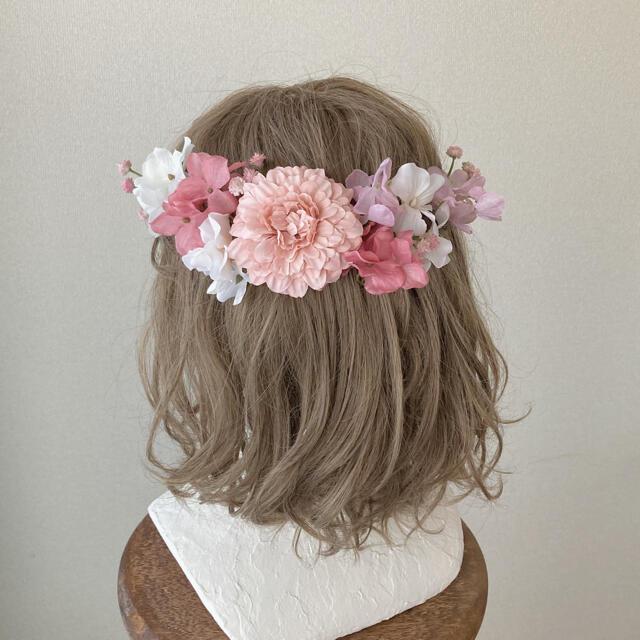 :マリーゴールドとあじさいのヘッドドレス︰成人式 髪飾り 花 和装 紐 金 結婚 レディースの水着/浴衣(和装小物)の商品写真