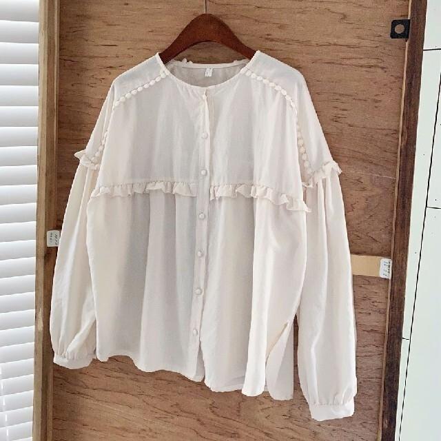 フリル ライン ブラウス レディースのトップス(シャツ/ブラウス(長袖/七分))の商品写真