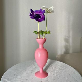 ピンク ガラス 花瓶 ヴィンテージライク フラワーベース 一輪挿し