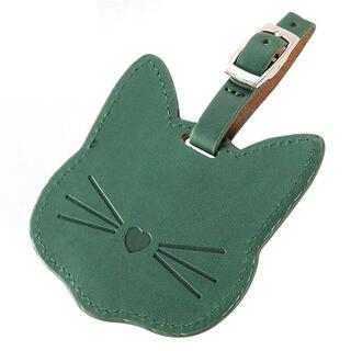 猫のネームタグ(グリーン)(キーホルダー)