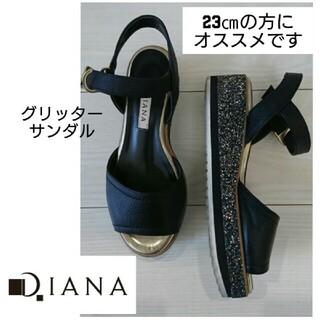 DIANA - ★★DIANA 履き心地抜群 フラットサンダル グリッターブラック