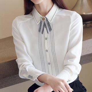 ViS - ラインデザインレトロリボンシャツ(ホワイト)