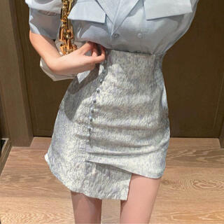 Mila Owen - メタリックデザインスカート(ブルー)