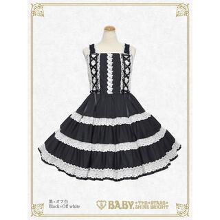 BABY,THE STARS SHINE BRIGHT - ミルフィーユジャンパースカート 黒 白 BABY THE STARS