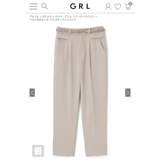 GRL(グレイル)のGRL  ベルト付きセンタープレステーパードパンツ レディースのパンツ(カジュアルパンツ)の商品写真