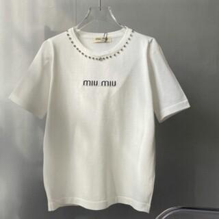 miumiu - MIUMIU ミュウミュウ丸首半袖Tシャツ ホワイト
