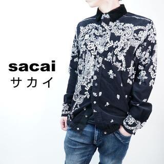 sacai - SACAI/サカイ ペイズリー柄コーデュロイシャツ 黒 01/Sサイズ