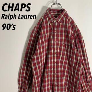 【90's】チャップス ラルフローレン ハニカムクロス チェックBDシャツ