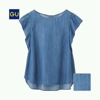 ジーユー(GU)の完売︎︎︎❤︎GU デニムフリルブラウス(シャツ/ブラウス(半袖/袖なし))