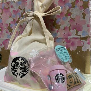 スターバックスコーヒー(Starbucks Coffee)のスターバックスサクラ2021 ミニカップギフトとラッピング袋(フード/ドリンク券)