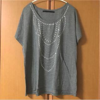 ケービーエフプラス(KBF+)のKBF+ ドルマンTシャツ チャコールグレー ビジュースタッズ(Tシャツ(半袖/袖なし))