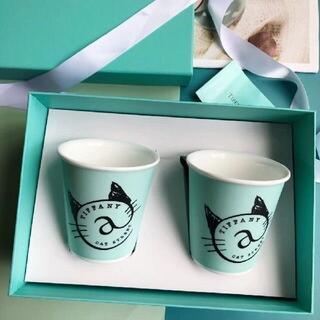 Tiffany & Co. - Tiffany&Co.骨の磁器のマグカップ猫柄