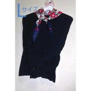GALLERY VISCONTI - 新品 ギャラリービスコンティ L スカーフ付 リブニット 袖リボン 紺 3