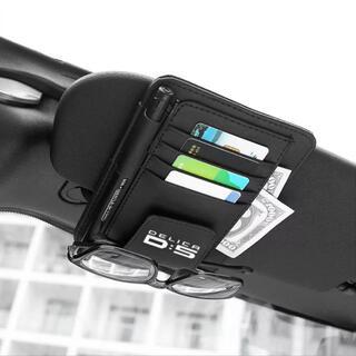 ミツビシ(三菱)の三菱 デリカD5用 サンバイザー用 カード ペン サングラスホルダー 白文字ロゴ(車内アクセサリ)