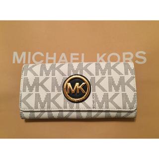 brand new 54385 e1a3c マイケルコース Michael Kors MK ホワイト×ネイビー 長財布