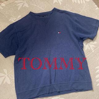 トミー(TOMMY)の古着 トミー 半袖トレーナー カットソー  ヴィンテージ ロゴ入り ネイビー(シャツ)