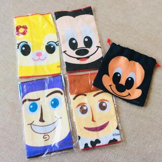Disney - Disney ミニハンドタオル 巾着セット