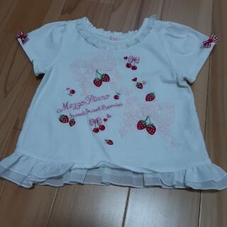 mezzo piano - メゾピアノ レースリボンイチゴ刺しゅうTシャツ 90サイズ