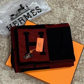 Hermes - エルメス HERMES ブランケット アヴァロン トリコロール ブラック×レッド