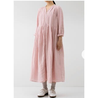 nest Robe - ネストローブ リネン Yネックドレス ピンク