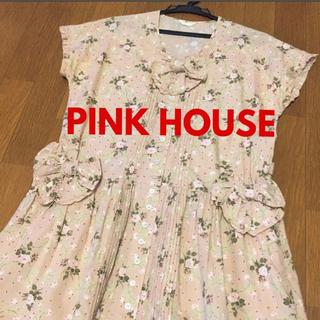 PINK HOUSE - 美品 ピンクハウス ピンタック 花柄 リボン モチーフ ワンピース ヴィンテージ