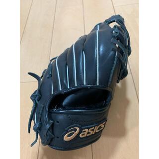 アディダス(adidas)の野球グローブ asics 黒 小学生低学年向き 使用数回(グローブ)