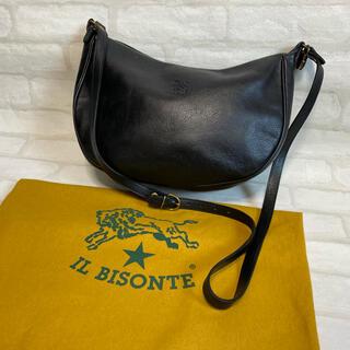 IL BISONTE - 美品 イルビゾンテ 三日月型 ショルダーバッグ レザー ブラック 保存袋付き