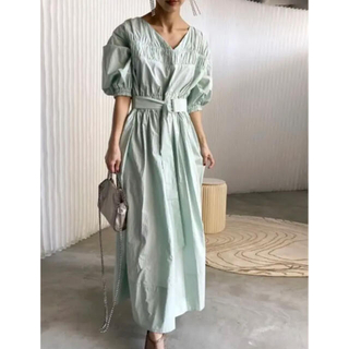 Ameri VINTAGE - SHIRRING VOLUME SLEEVE DRESS