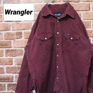 ラングラー(Wrangler)の《ラングラー》バーガンディ ビッグサイズ 長袖シャツ ダブルポケット(シャツ)