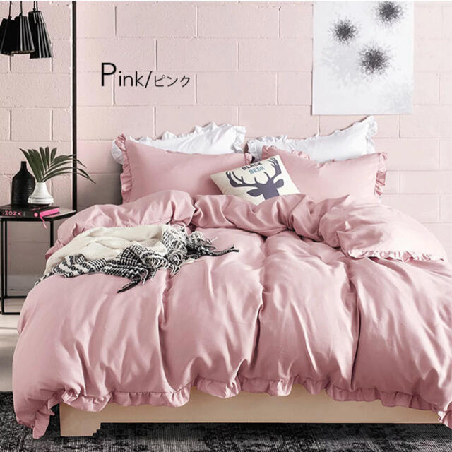 Francfranc(フランフラン)のピンク  フリル  シーツ インテリア/住まい/日用品の寝具(シーツ/カバー)の商品写真