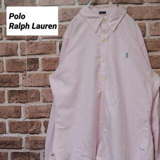 POLO RALPH LAUREN - 《ラルフローレン》ピンクストライプ ボタンダウンシャツ ポニー刺繍ロゴ