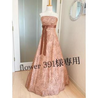 エメ(AIMER)のAIMER 茶色・ミルクティー 薔薇柄 ロングステージドレス 数回着用(ロングドレス)