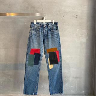 JOHN LAWRENCE SULLIVAN - DAIRIKU Leather Patch Work Denim Pants