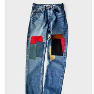 Jieda - DAIRIKU Leather Patch Work Denim Pants
