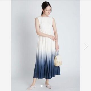 フレイアイディー(FRAY I.D)の新品タグ付 グラデーションプリーツドレス S 紺 CELFORD(ロングワンピース/マキシワンピース)