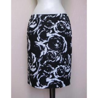 ADORE - ADORE アドーア 黒に白とグレーパープルの花柄のスカート 38