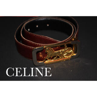 celine - CELINE セリーヌ ベルト 馬車金具 ゴールドバックル ブラウン