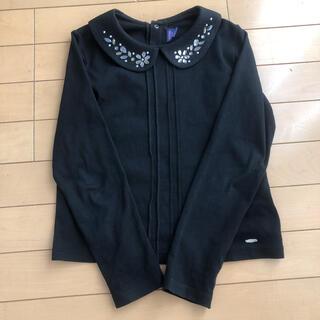 アナスイミニ(ANNA SUI mini)のアナスイミニ 襟付き ビジュー付き 花 ブラック 黒 トップス(Tシャツ/カットソー)