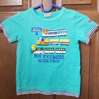mikihouse - ミキハウス エクスプレス 新幹線 半袖Tシャツ 100 青 ブルー キリン 象