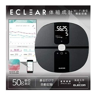 エレコム(ELECOM)のECLEAR 体組成計 HCS-WFS01 ブラック(体重計/体脂肪計)