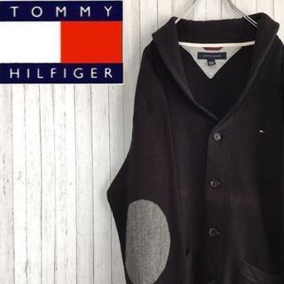 TOMMY HILFIGER - トミーヒルフィガー スウェット カーディガン 黒 刺繍ロゴ エルボーパッド L