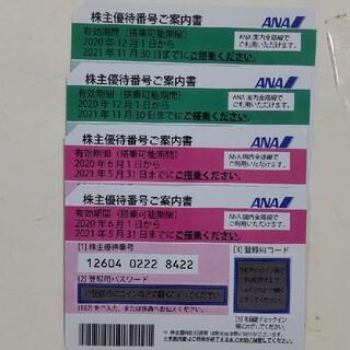 ANA株主優待券  期限2021/11/30  4枚組(航空券)