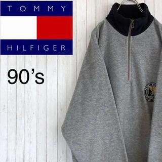 TOMMY HILFIGER - トミーヒルフィガー オールドタグ 90's フリース ハーフジップ グレー M