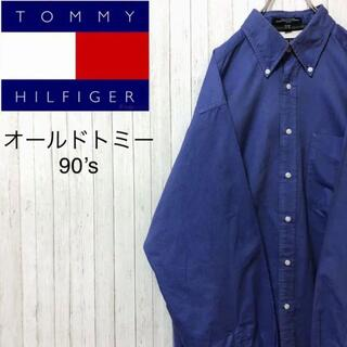 TOMMY HILFIGER - トミーヒルフィガー オールドトミー 90's BDシャツ ビッグサイズ ブルー