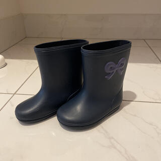 familiar - 長靴 リボン ネイビー キッズ 13センチ